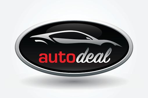 Sports car vehicle silhouette badge design