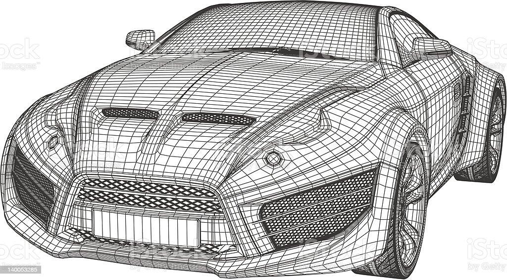 Sports car wireframe vector art illustration