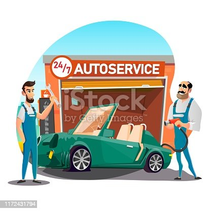 Sports Car with Flat Tire at Noctidial Autoservice. Two Repairmen in Uniform Holding Wrench and Tools in Hand and Ready to Replace and Fitting Broken Wheel. Vector Flat Cartoon Illustration