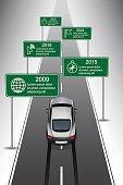 Design template, Sports cars heading along timeline, Vector Illustration