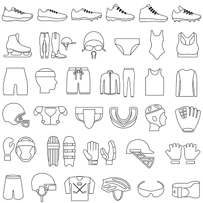 Sports Clothing Icons Set Editable Outlines