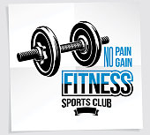 Sports club vector promotion card composed using disc weight dumb-bell sport equipment. No pain no gain writing.