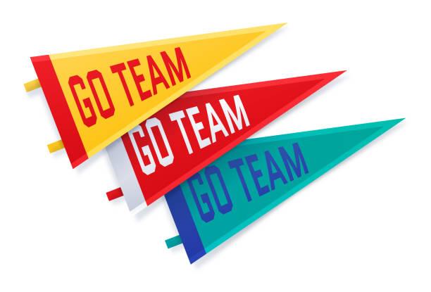 sports college go team fan wpennants - fussball fan stock-grafiken, -clipart, -cartoons und -symbole