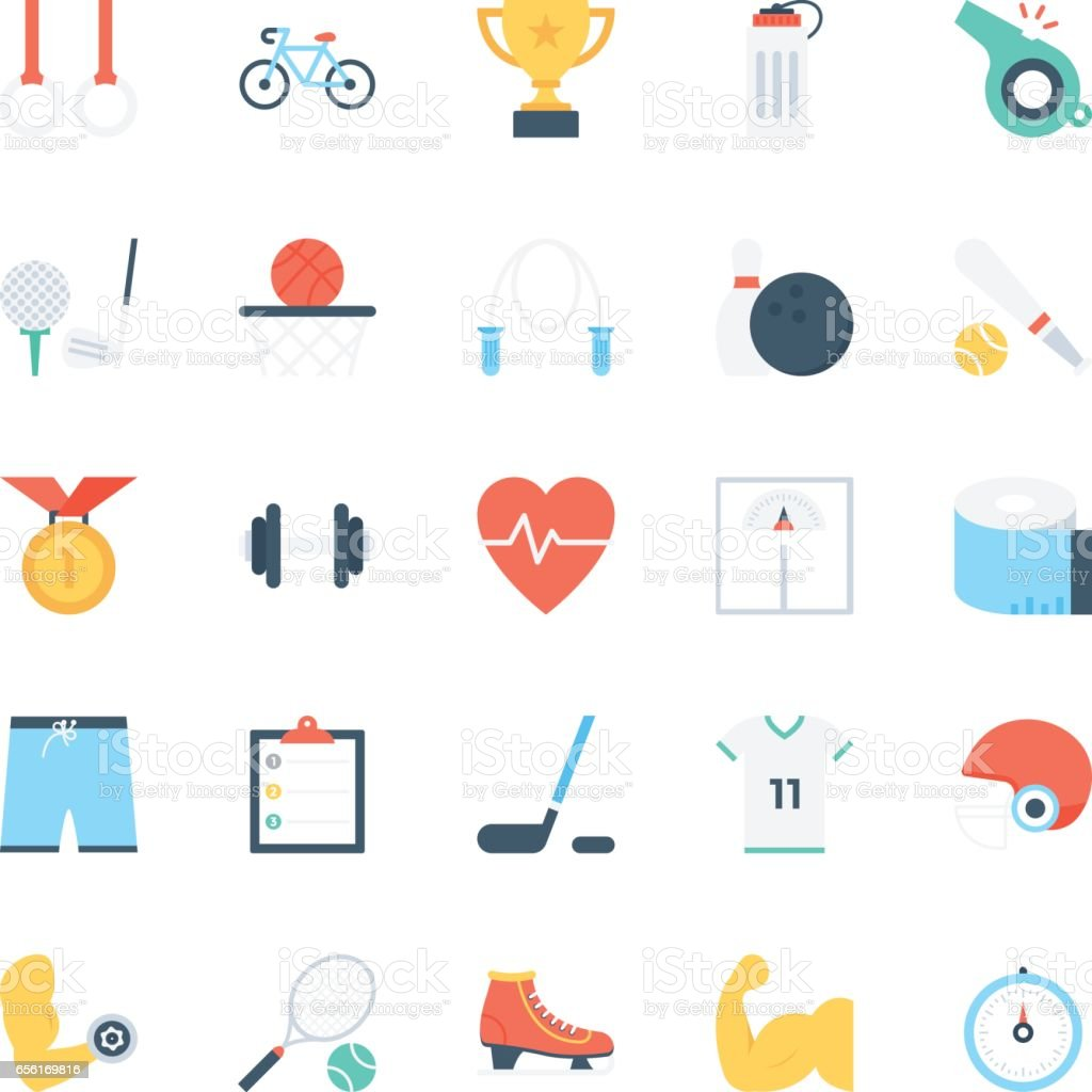Sports Colored Vector Icons 1 vector art illustration