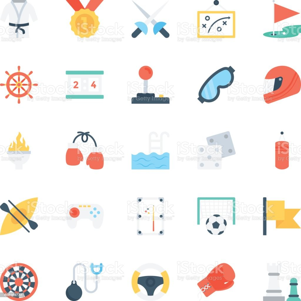 Sports Colored Vector Icons 2 vector art illustration