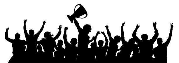 ilustrações, clipart, desenhos animados e ícones de multidão de copa esportes de fãs. silhueta de vetor - equipe esportiva