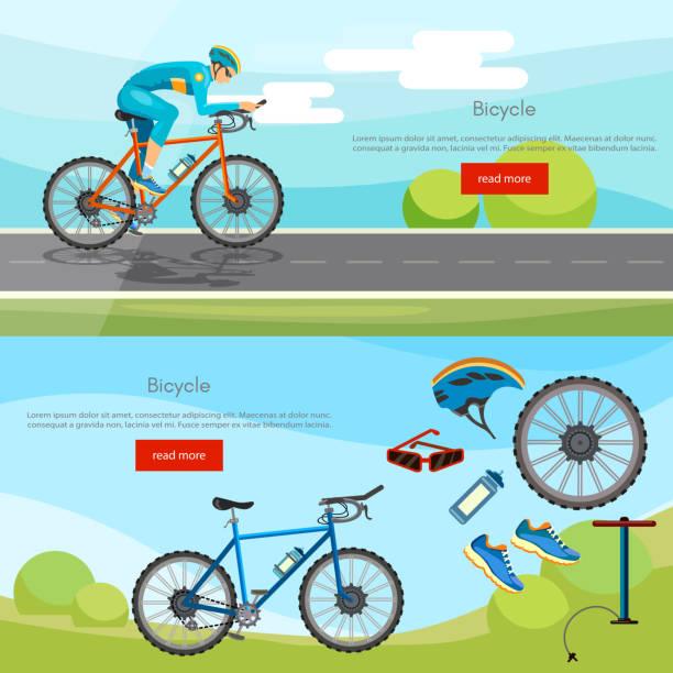 Sports cycle races concept. Cycling banner active lifestyle sport icon set bicycle riders vector vector art illustration