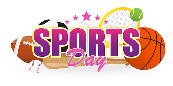 Sport Dag Banner Vectorillustratie Tekst Met Sportuitrusting ...
