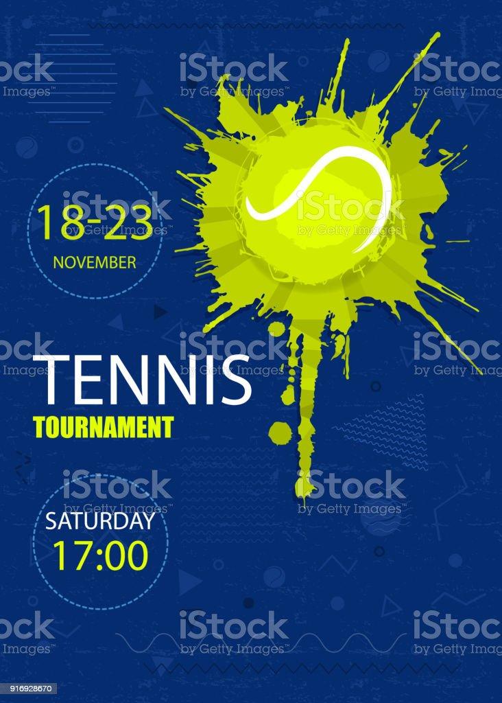Conception du sport pour le tennis. Fond géométrique, polygone, boule de grunge. Fichier EPS est posée. - Illustration vectorielle