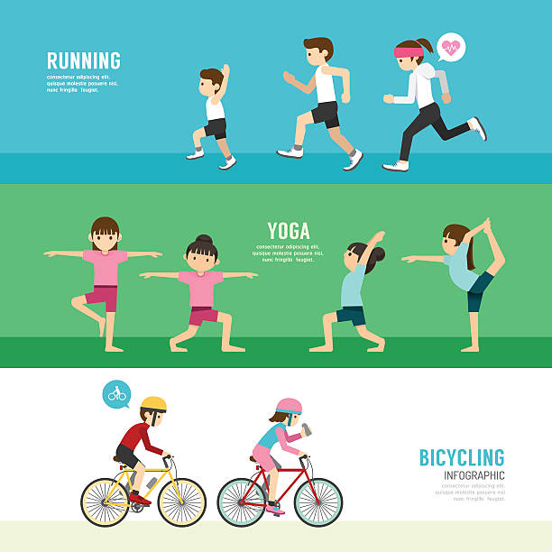 sports design health concept people exercise set , cycling, run vector art illustration