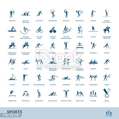 Sports disciplines icons  with vector stick figure symbol