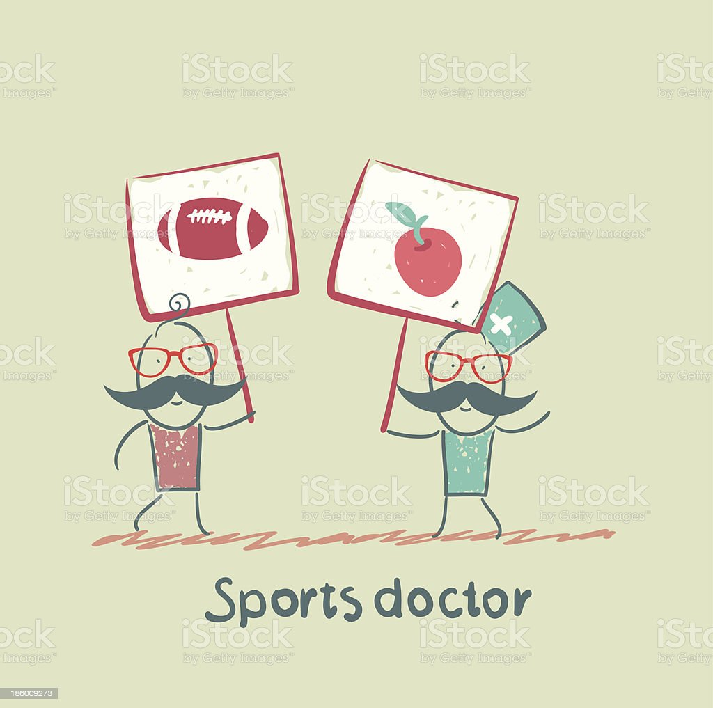 Sports doctor holds a banner royalty-free stock vector art