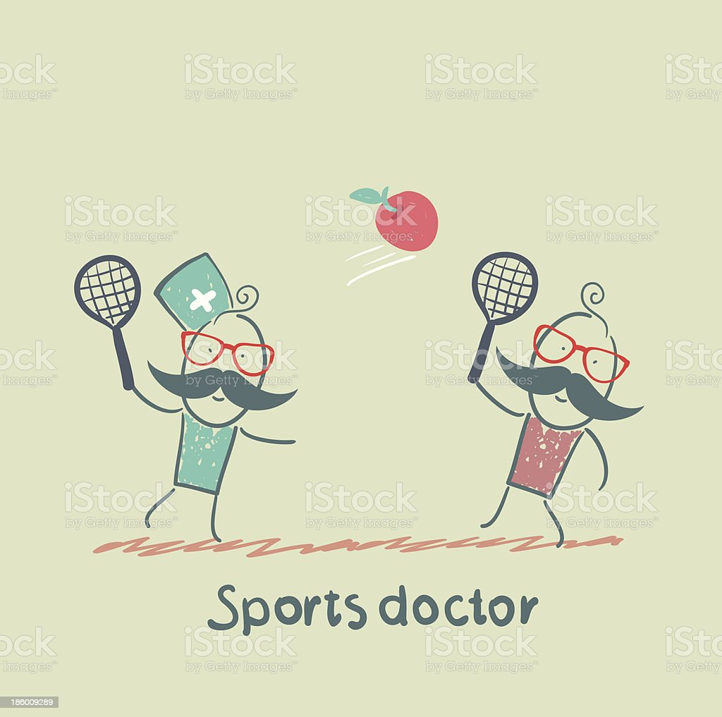 Sports doctor plays with a man in badminton apple royalty-free stock vector art