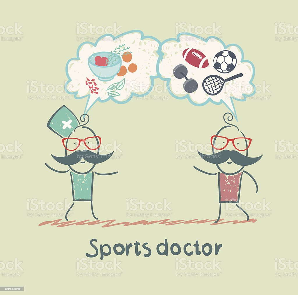 Sports doctor speaks to man of sport and healthy food royalty-free stock vector art
