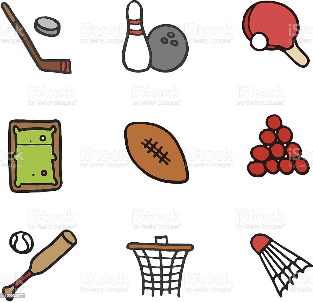 Sports doodle icon set royalty-free sports doodle icon set stock vector art & more images of american football - ball