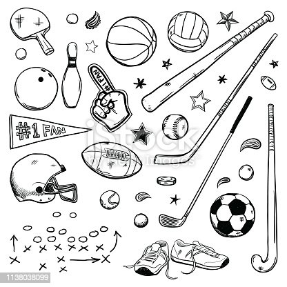 Various simple sports drawing doodles