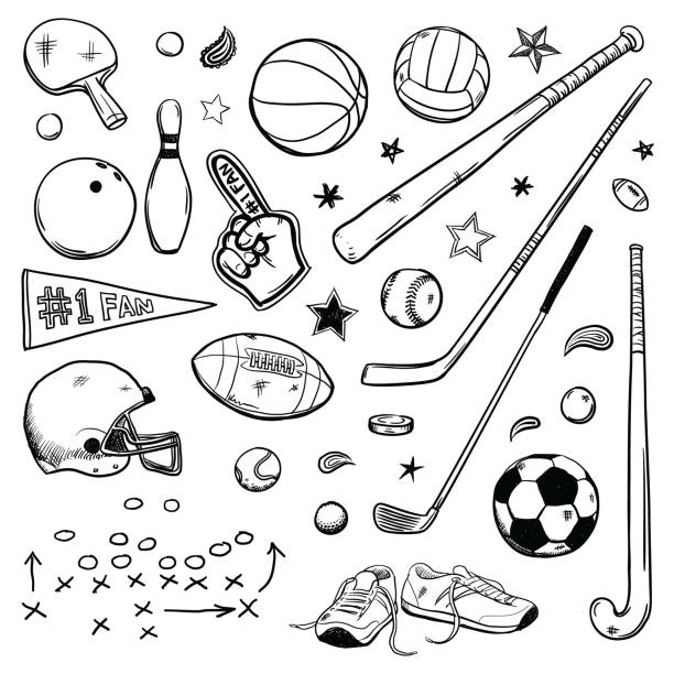 Sports doodles Various simple sports drawing doodles american football ball stock illustrations