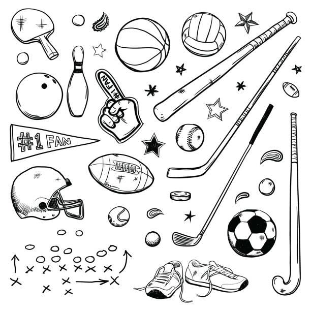ilustrações de stock, clip art, desenhos animados e ícones de sports doodles - football