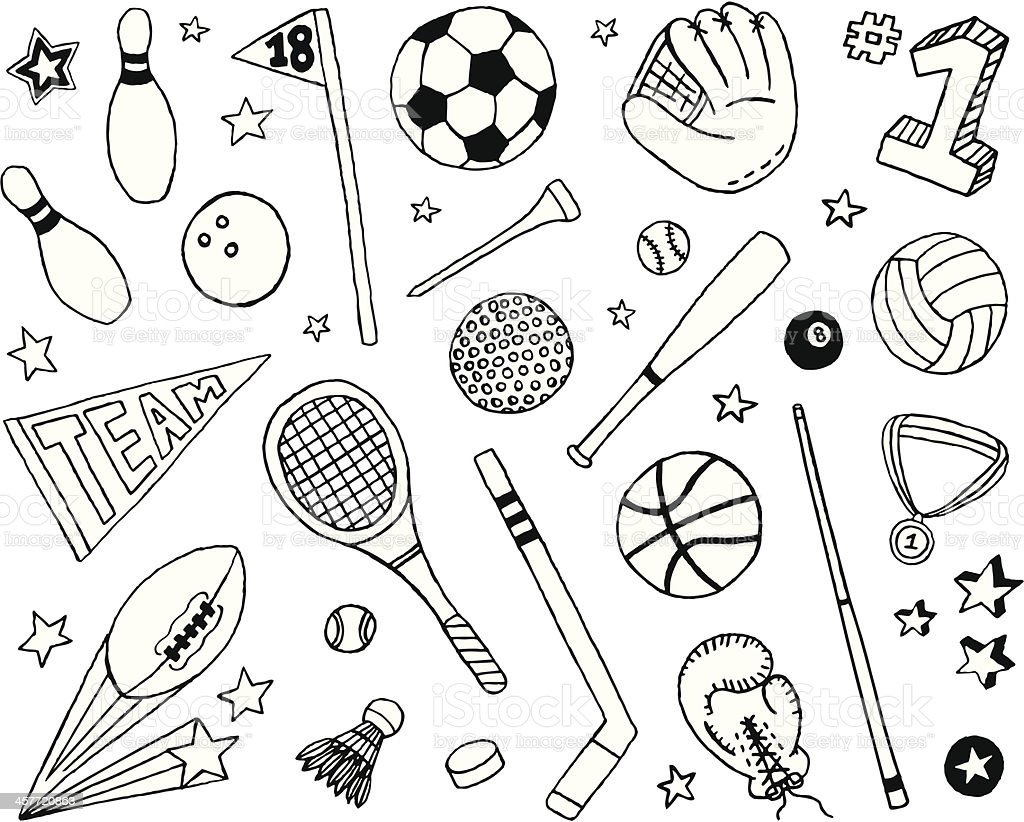 Sports Doodles vector art illustration