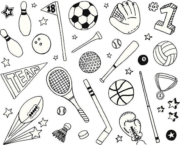 stockillustraties, clipart, cartoons en iconen met sports doodles - samen sporten