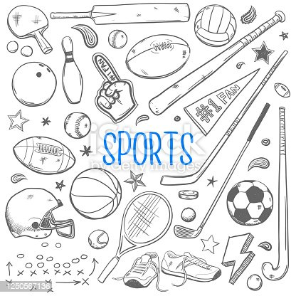 vector illustration of various sports equipment