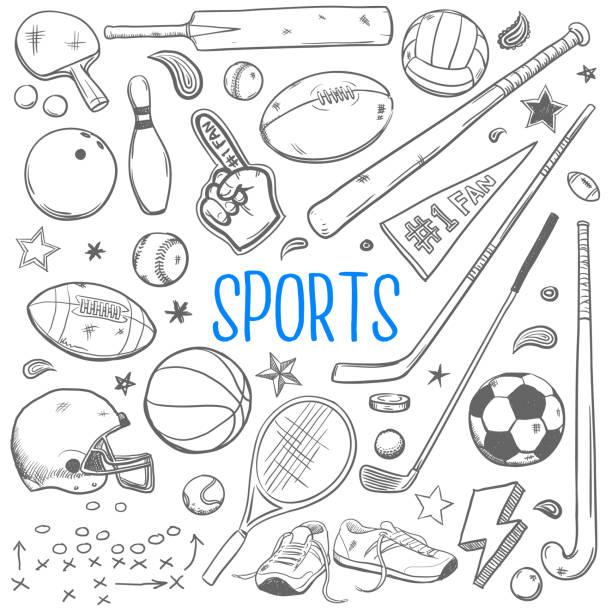 sports doodles vector illustration