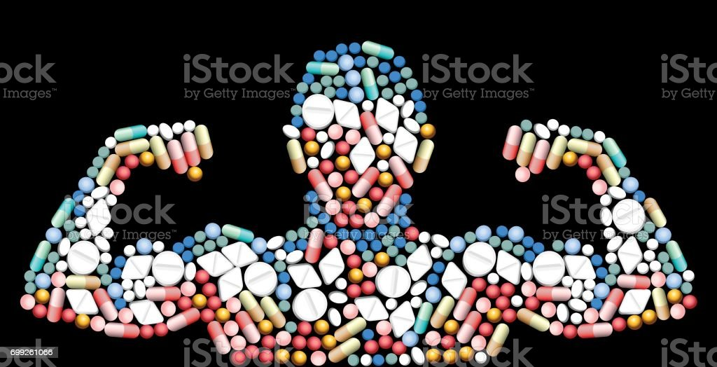 Sports doping, anabolic drugs, pills and capsules - shape of a male muscular upper body - symbol for medical drug abuse. Isolated vector illustration on black background. vector art illustration
