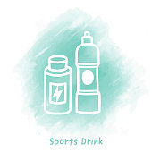 Vector energy drink doodle sketch over watercolor background.