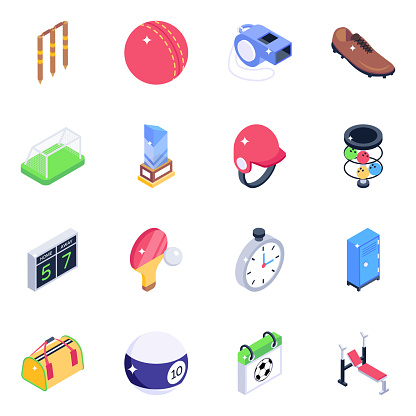 Sports Elements Isometric Icons Pack