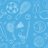 Sports background with different kinds of sport equipment.