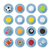 Sports Equipment, Ball Flat Icons Set