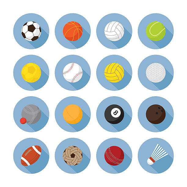 bildbanksillustrationer, clip art samt tecknat material och ikoner med sports equipment, ball flat icons set - handboll