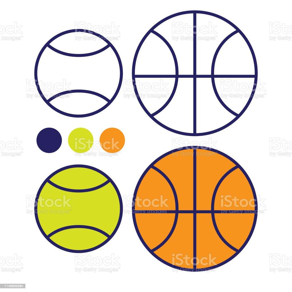 Spor Ekipmanlari Basketbol Ve Tenis Toplari Cocuklar Icin Boyama