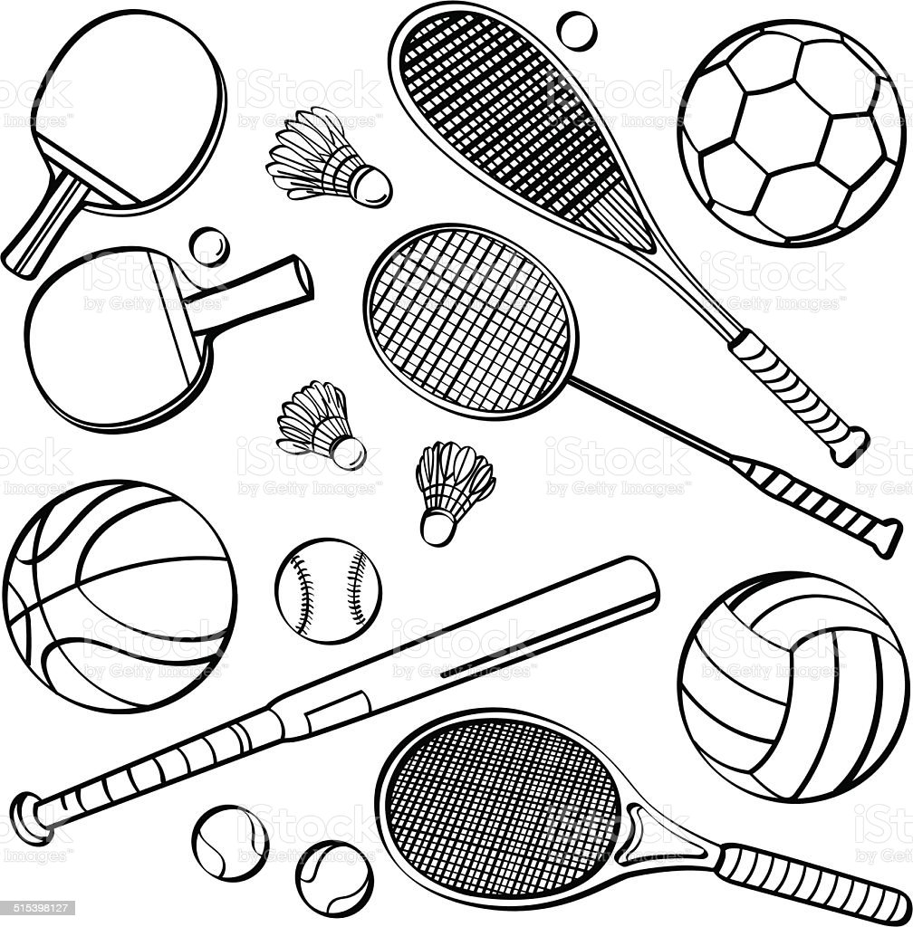 Sports Equipment Collections vector art illustration