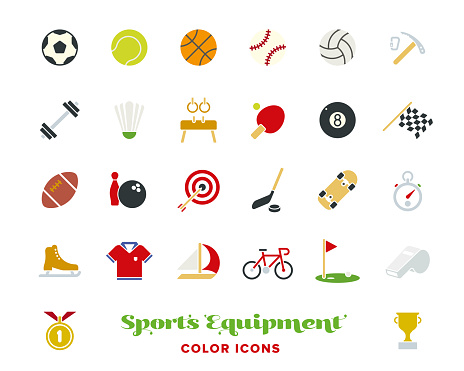 sports equipment color icons vector set.
