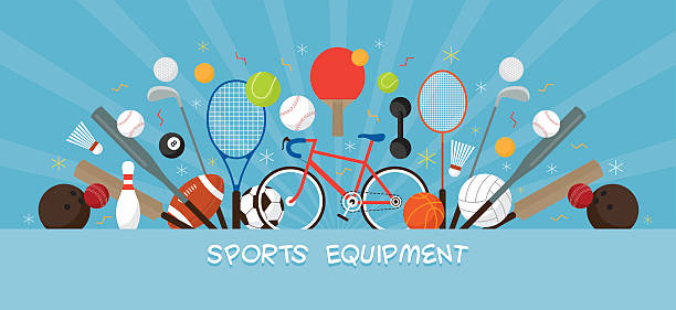 sports equipment, flat icons display banner - sports equipment stock illustrations, clip art, cartoons, & icons