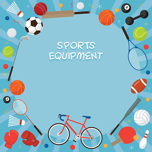 sports equipment, flat icons frame - sports equipment stock illustrations, clip art, cartoons, & icons