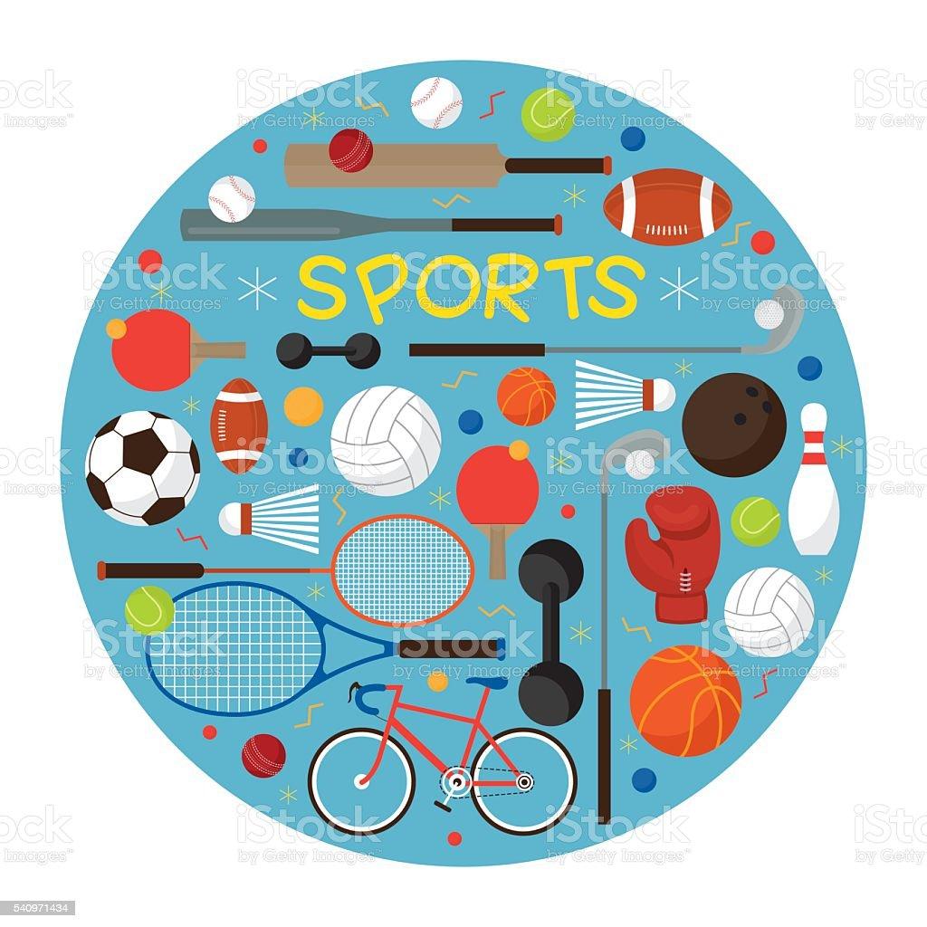 Sports Equipment, Flat Icons Label vector art illustration