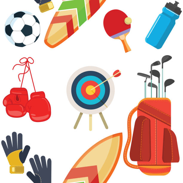 sports equipment, flat objects set, icons, recreation and leisure - sports equipment stock illustrations, clip art, cartoons, & icons