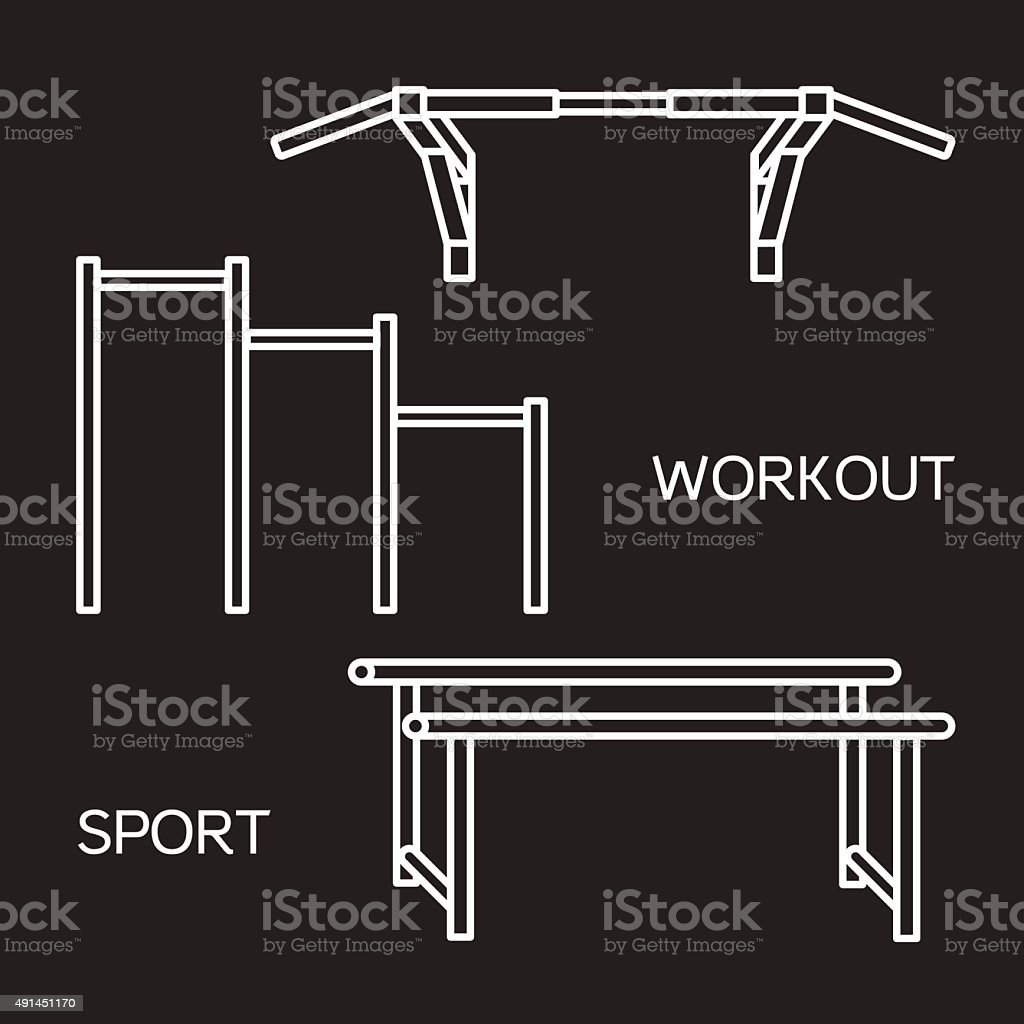 Sports equipment for street workout and pull-up bar. Vector