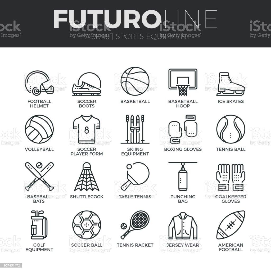 Sports équipement ligne Futuro Icons Set - Illustration vectorielle