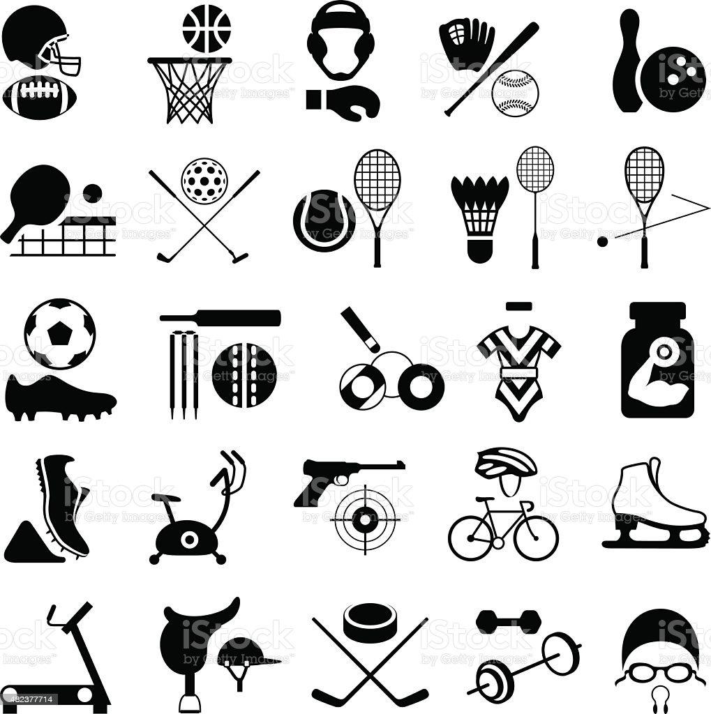 Sports Equipment Icon Set vector art illustration