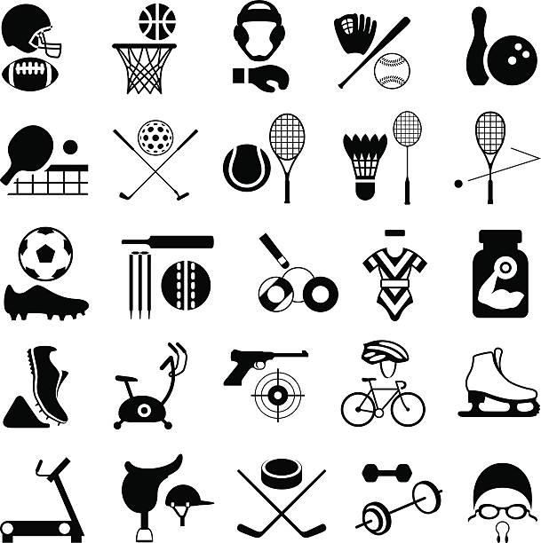 sports equipment icon set - sports equipment stock illustrations, clip art, cartoons, & icons