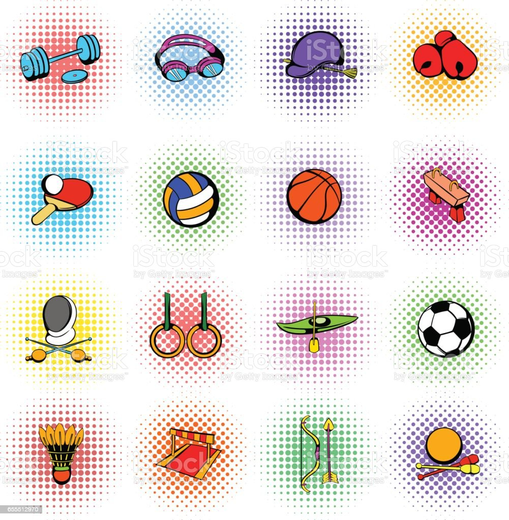 Sports equipment icons set vector art illustration