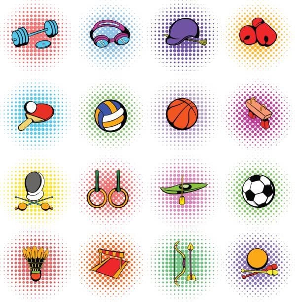 Sports equipment icons set vector art illustration