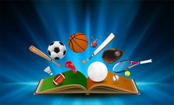 sports equipment out of book on abstract smooth light blue perspective background. vector illustration. - sports equipment stock illustrations, clip art, cartoons, & icons