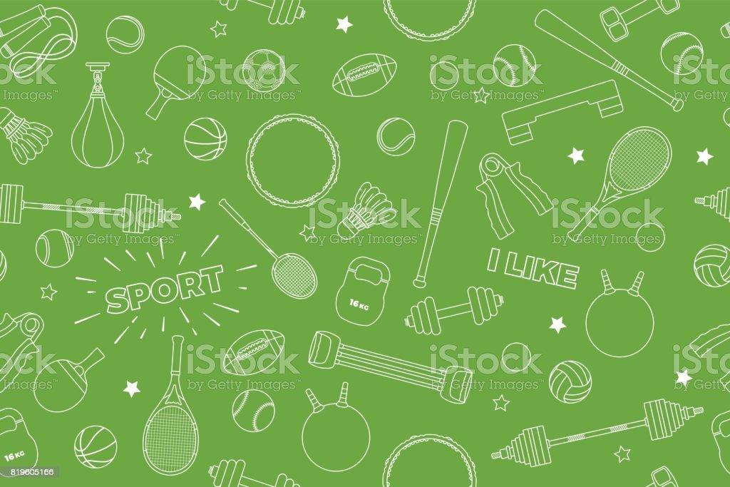 Vector Deportes Bolas Patrón De Fondo: Ilustración De Patrón Del Equipo De Deportes Conjunto De