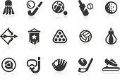 Sports equipment silhouette icon set