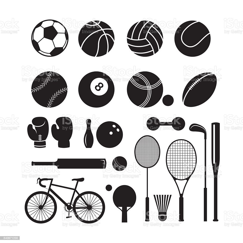 Sports Equipment, Silhouette Objects Set vector art illustration
