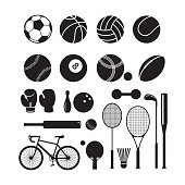 Sports Equipment, Silhouette Objects Set